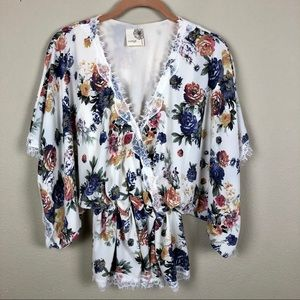 Everleigh Floral Wrap Blouse w/ Bell Sleeves S